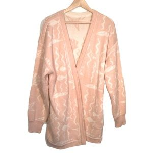 VINTAGE Open Knit Sweater Cardigan Light Pink and Cream Size Large Ocean Pattern
